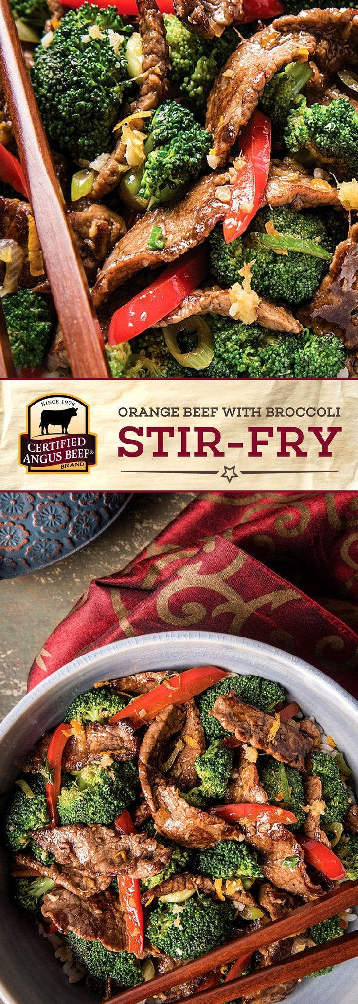 Certified Angus Beef®️️️️️️️ brand Orange Beef with Broccoli Stir-fry is a MUST TRY recipe! The best bottom round steak is cooked with bell peppers, green onions, garlic and ginger for strong flavors, and is finished with a DELICIOUS orange sauce.