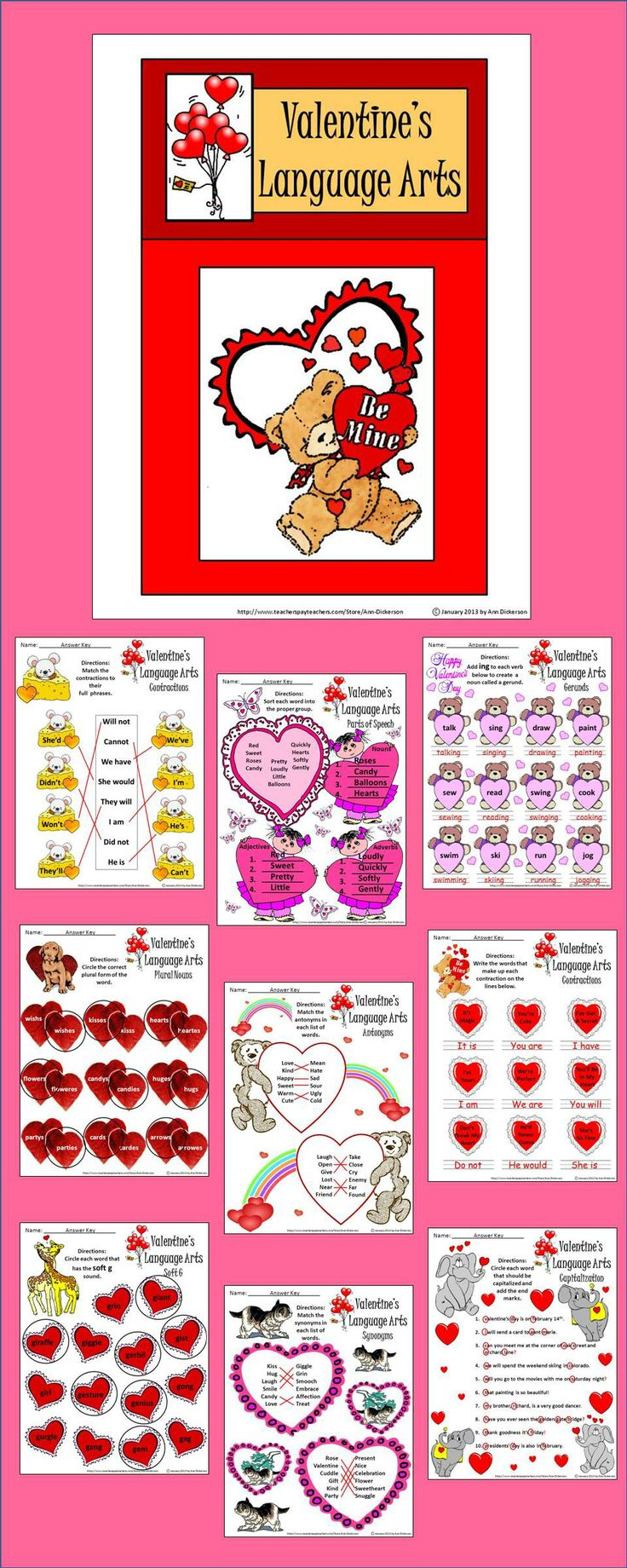 Valentine Language Arts Activity Packet: This is a colorful Valentine's Day Language Arts activity packet packed with many grammar exercises.  Worksheets include: * Contractions * Plural Nouns * Synonyms * Antonyms * End Marks * Capitalization * Parts Of Speech * Gerunds  * Soft G Words * Soft C Words * Syllables * Answer Keys