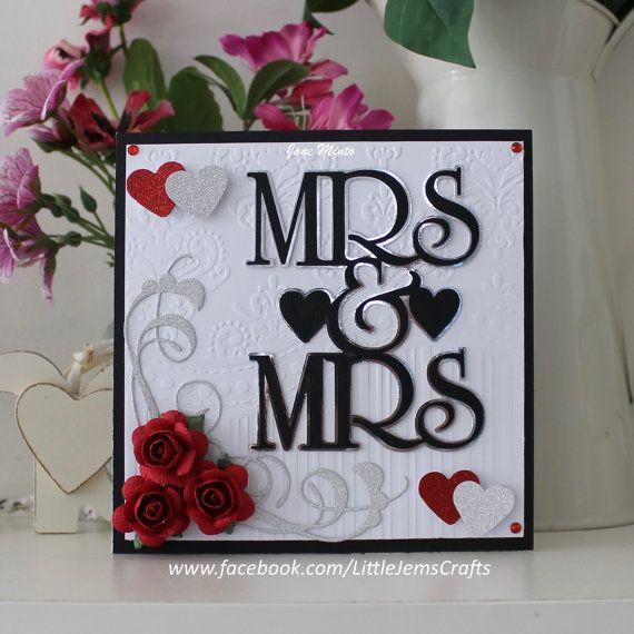 Mrs & Mrs wedding card - handmade card