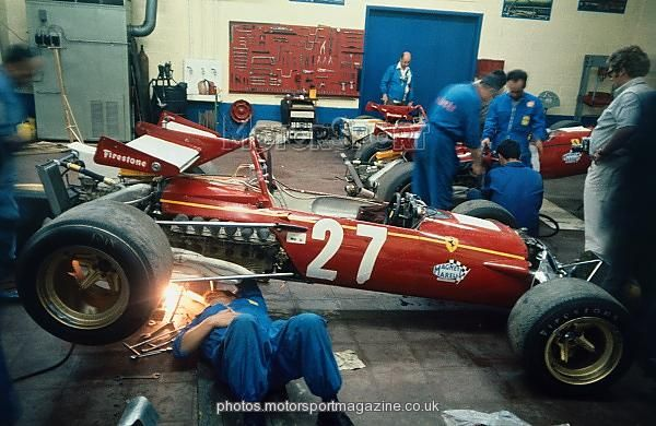 Jacky Ickx's Ferrari 312B is strengthened by a spot of welding on the evening before the race.Belgian Grand Prix, Spa-Francorchamps, June 6, 1970.