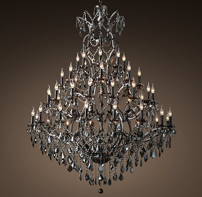 19th c rococo iron smoke crystal round chandelier