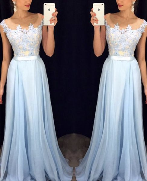 Cute ice blue lace chiffon prom dress with belt, long ball gown for 2016 #coniefox