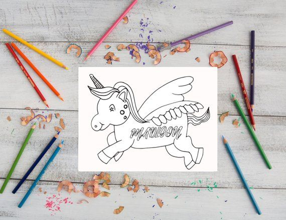 Unicorn Coloring Page Personalized Digital Item Print And Etsy Unicorn Coloring Pages Name Coloring Pages Coloring Pages