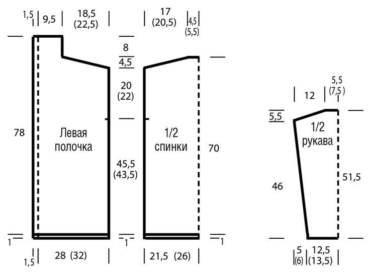 Просторный кардиган с ажурными «косами» - схема вязания спицами. Вяжем Кардиганы на Verena.ru