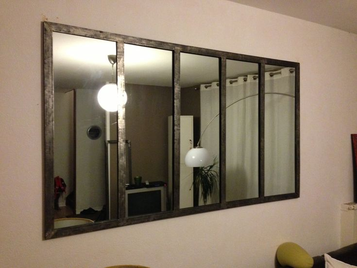 Miroir style fen tre d 39 atelier verri re pinterest - Decoration industrielle salon ...
