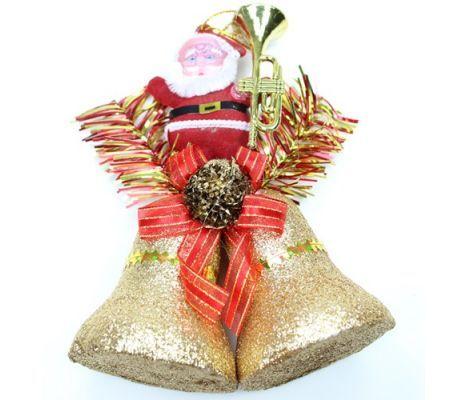 Noel Baba Figürlü Simli Yılbaşı Çanı Süsü :: Burcu YAVUZ