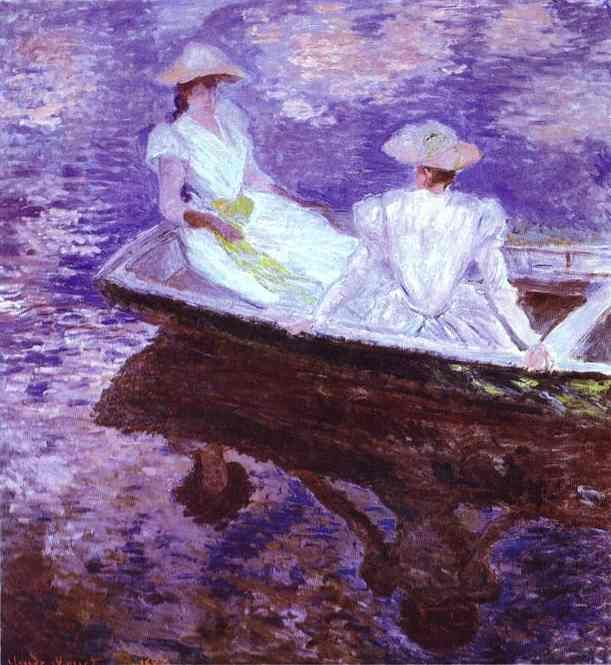 Claude Monet. The purple reflections in the water of a quiet lake.
