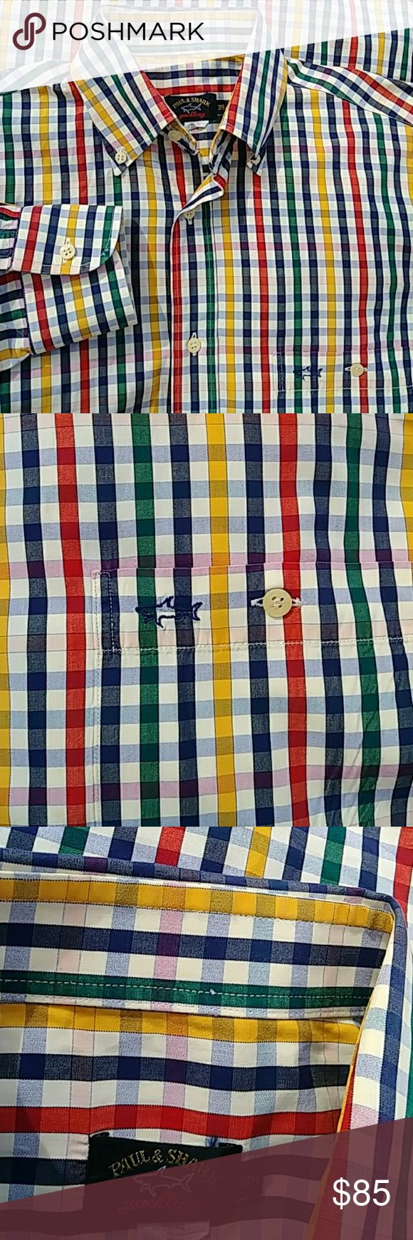 PAUL & SHARK Striped Cotton DressShirt-Gently used Paul & Shark have a well-deserved global reputation for high quality fabrics and premium design; producing every piece of their collection in their country of origin, Italy. scotts work closely with the brand to secure the best of their menswear.  This shirt has a left chest pocket embroidered w/ shark. Smooth extra fine woven cotton. 100% Cotton. Single button rounded barrel cuffs. Classic fit. collar style. Paul & Shark Shirts