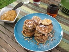 Silver Dollar Buttermilk-Pecan Pancakes with Bourbon Molasses Butter and Maple Syrup from CookingChannelTV.com