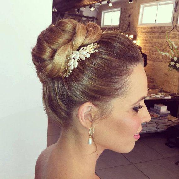 pearl gold hair comb wedding hair accessories bridal hair accessories bridal hair