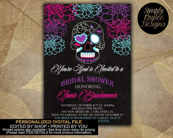 Gothic Sugar Skull Halloween Bridal Shower Invitation by SimplyKayleeDesigns on Etsy https://www.etsy.com/listing/536007319/gothic-sugar-skull-halloween-bridal