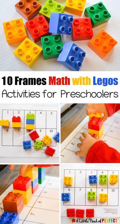 10 Frames Math with Legos Activities for Preschoolers: 4 easy activities to do with preschoolers to learn numbers, counting, and subitizing including a free printable 10 frames mat.