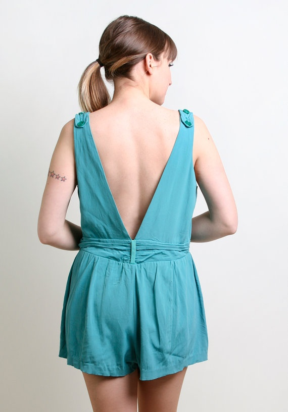 1950s Bathing Suit  Vintage Aquamarine Bombshell Maillot  by zwzzy, $88.00
