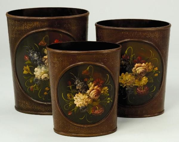 Victorian Floral Painted Wood Waste Baskets Set of 3