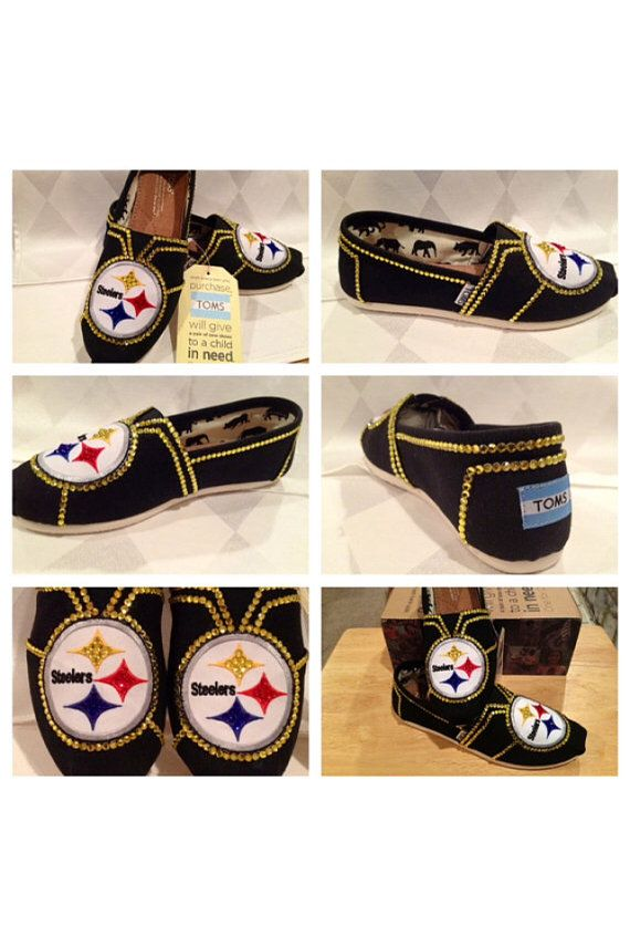 Custom Steelers womans shoes, custom bling Toms, hotfix rhinestones , Steelers apparel free shipping, Pittsburgh Steelers , Black Friday on Etsy, $130.00