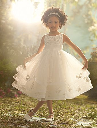 Alfred Angelo Cinderella Style 704: tiered flower girl dress with embroidered lace and metallic accents