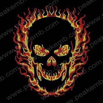 Skull Flame Rhinestone Transfer-Rhinestone Transfers Wholesale