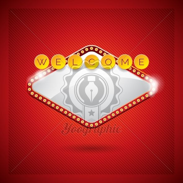 Vector illustration on a casino theme with lighting display and welcome text on red background. - Royalty Free Vector Illustration