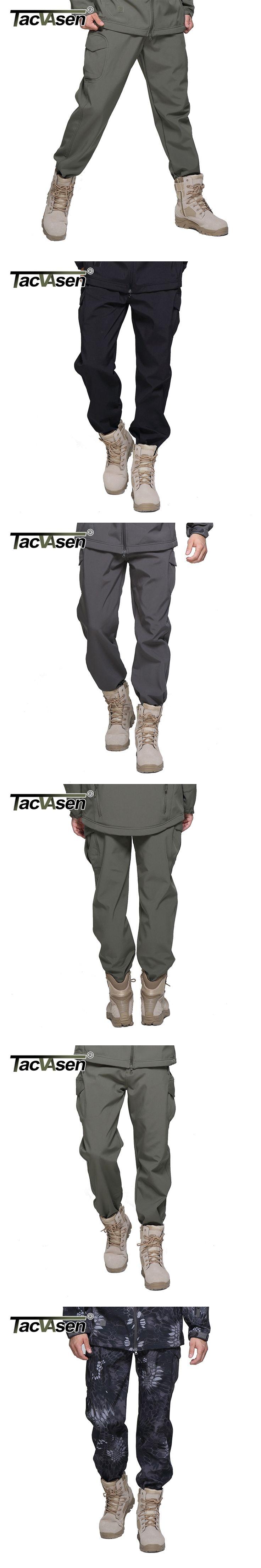 TACVASEN New Winter Shark Skin Soft Shell Tactical Military Camouflage Pants Men Waterproof  Warm Paintball Army Fleece Pant