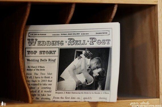 Mini Newspaper Wedding Programs! ADORABLE!