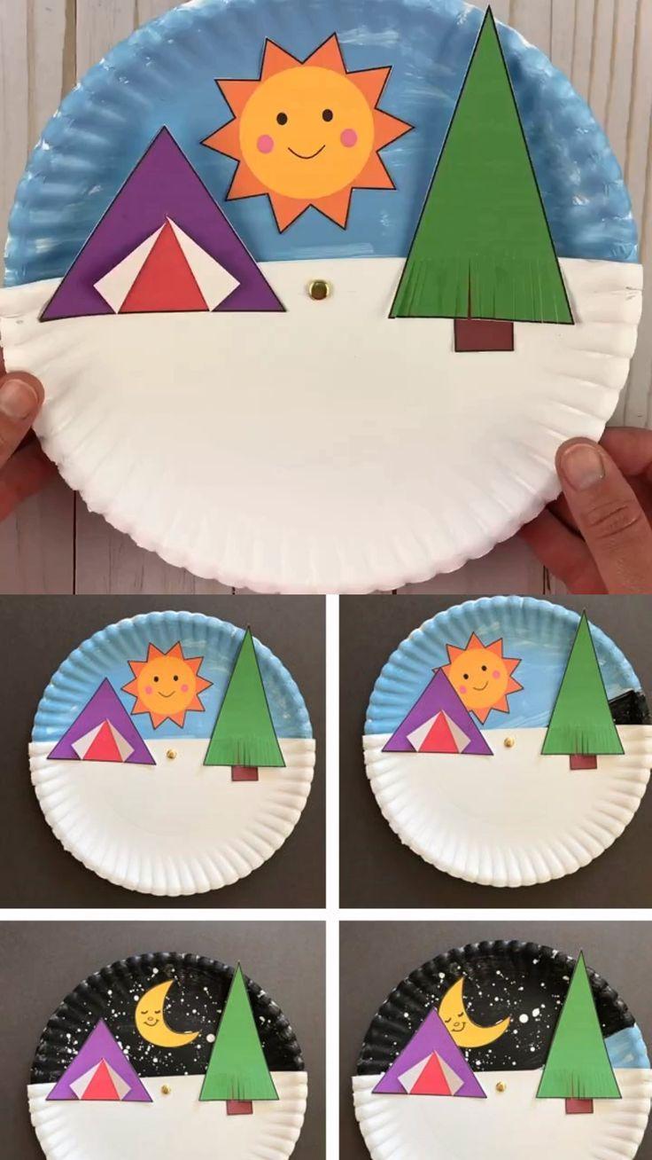 Paper plate camping craft kids – #camping #Craft #Kids #night #Paper #Plate