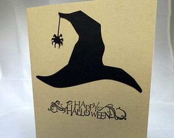 Happy Halloween Card Witch Hat Card Hand Made Card Handmade Halloween Card Hand Stamped Card Handstamped Card