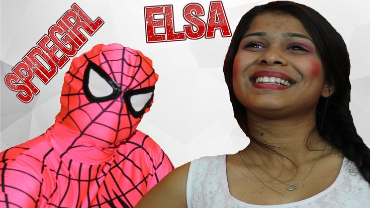 superheroes in real life Elsa VS Pink Spidergirl w/spiderman Funny Compi...