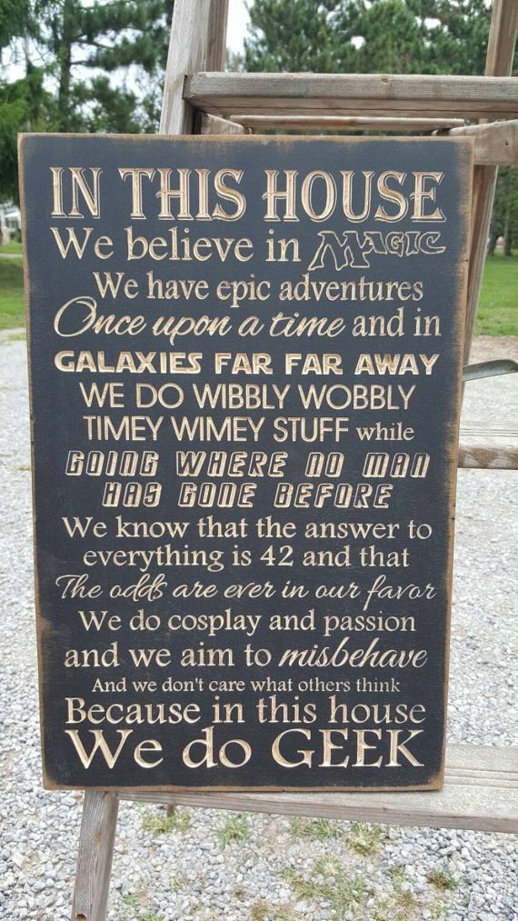 "Custom Carved Wooden Sign – ""In This House We Believe In Magic, We Do GEEK"" – 20″x13″"
