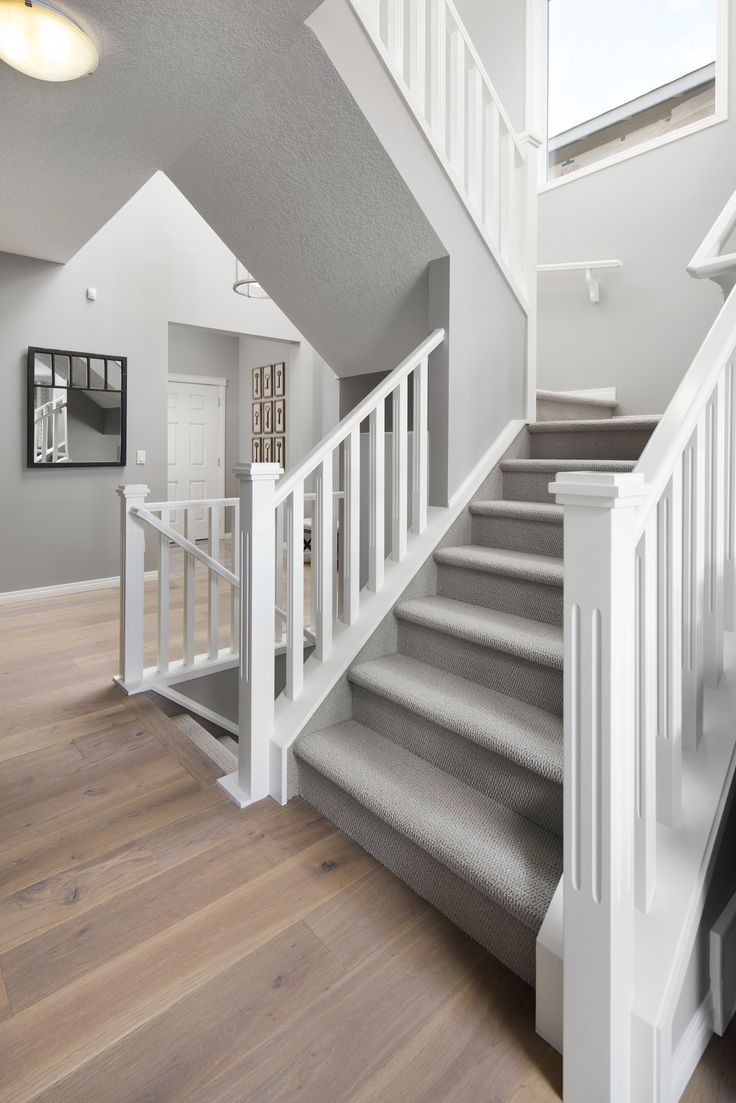 Stairwell in Shane Homes Tofino II Showhome in Redstone in northeast Calgary #stairwell #stairs