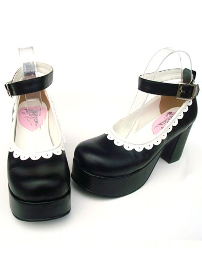 3'' Heel With 1.4'' Platform Black And White PU Lolita Shoes