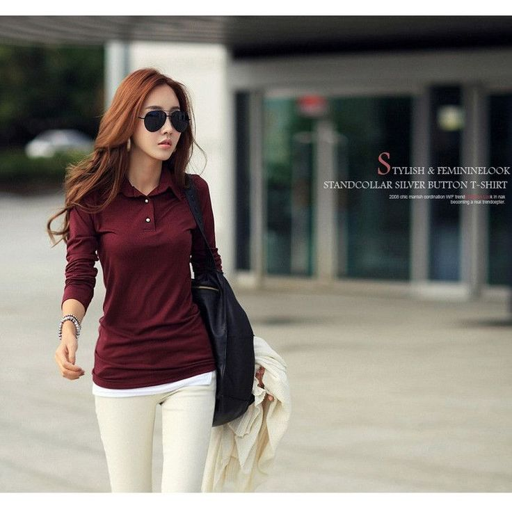 Spring Autumn Casual Polo Women 2016 New Long Sleeve Slim Polos Mujer Black White Red Tops Plus Size Lady Polo Shirt Femme A558