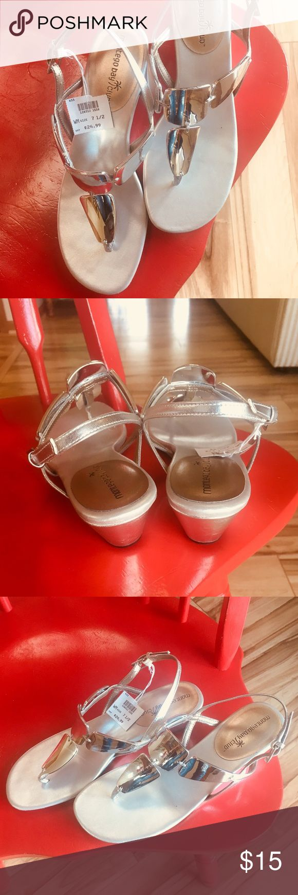 Montego Bay Club Metallic/Silver Sandals Beautiful Silver Sandals, never worn Adjustable heel strap   All Man Made Material Montego Bay Club Shoes Sandals
