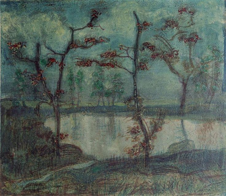 Herbstlandschaft mit See und B{umen 1910 Paul Klee