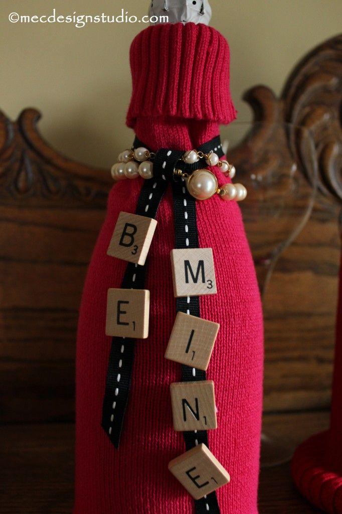 "Make special wine bottle ""cozies"" from sweaters! DIY, Valentine's Day, wine cozie, mecdesignstudio.com, Scrabble tiles"