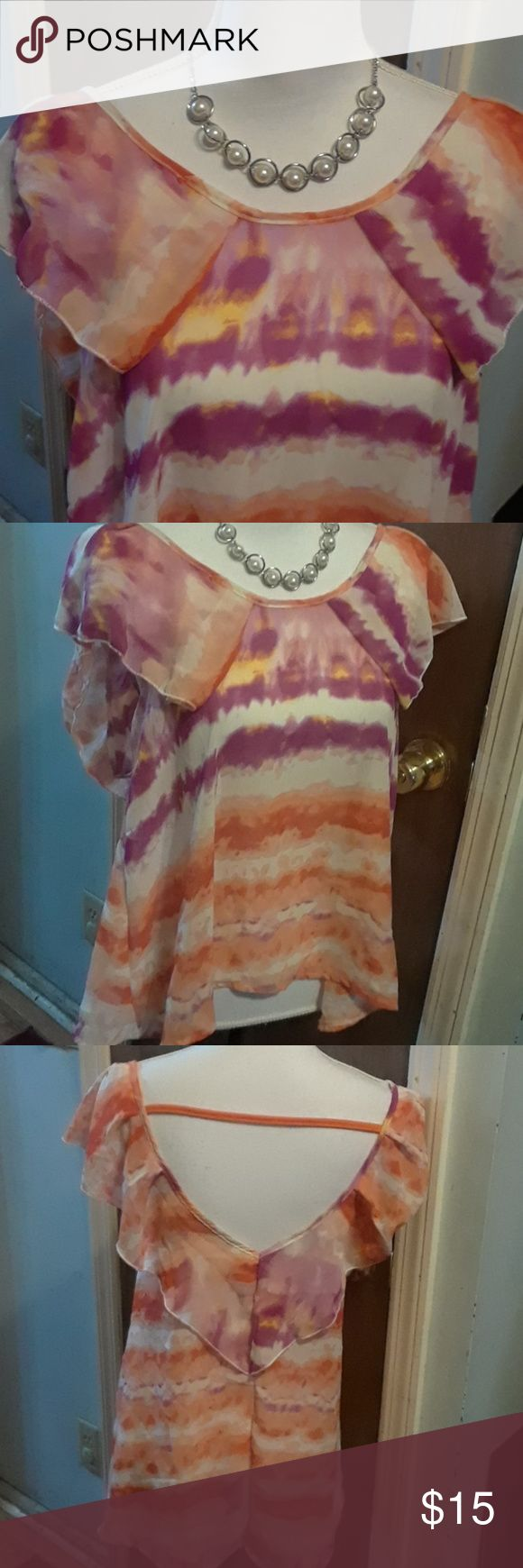 Adorable Tie Die top, size XL Multi colored short sleeve top. Very light comfortable fabric. By Allora Tops Blouses