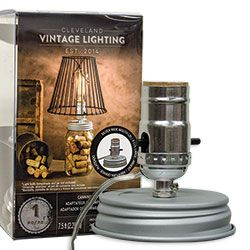 Wide Mouth Canning Jar Lamp Adapter Lid ~ this adapter fits a wide mouth mason jar. The canning jar lamp adapter has a silver socket, and a 7 1/2 foot long silver cord. Uses standard light bulbs. Shades sold separately.