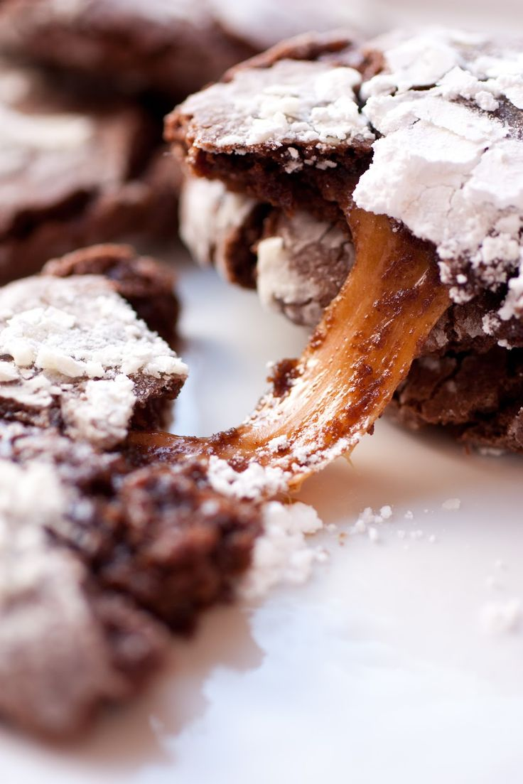 Caramel Stuffed Chocolate Crinkle Cookies = LOVE