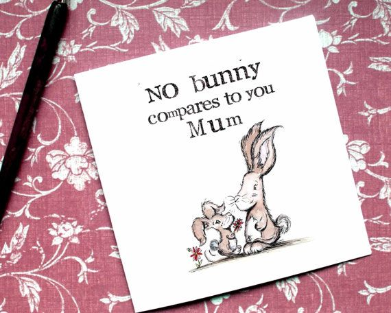 Flower Mum Card Bunny Mum Card Funny Mum Card by BEEcardsUK