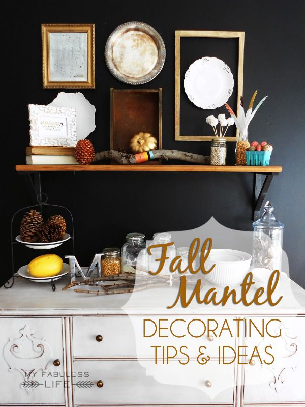 Fall Mantel + tips and ideas for an original and fun fall mantel! #fall #mantel