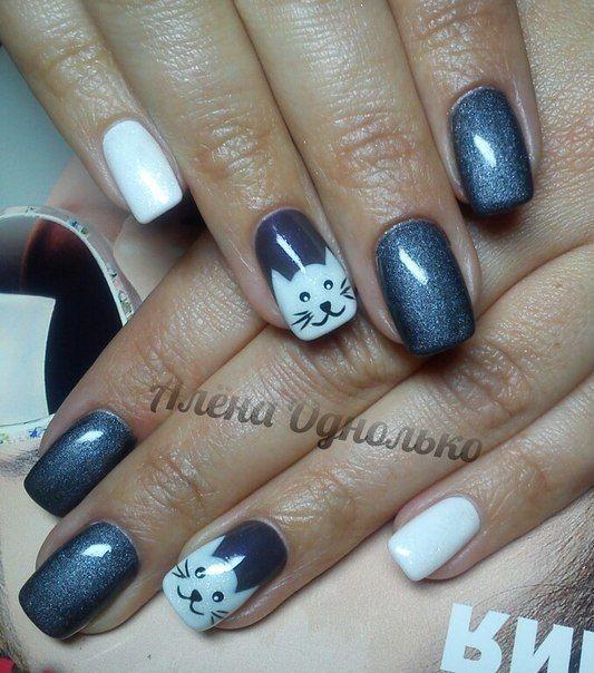 Autumn nails 2016, Autumn-winter 2016 nails, Calm nails design, Casual nails, Cat nails, Catty nails, Cheerful nails, Cold nails