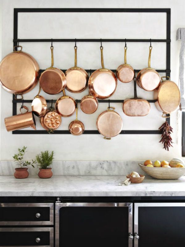 Copper Pots on Dispay Home of Ellen Pompeo!