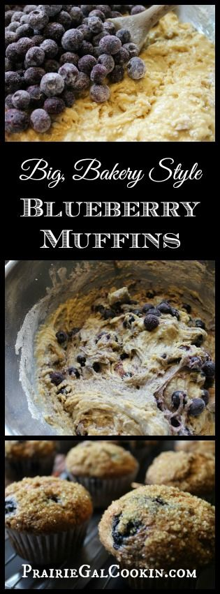 Big, Bakery Style Blueberry Muffins - Prairie Gal Cookin