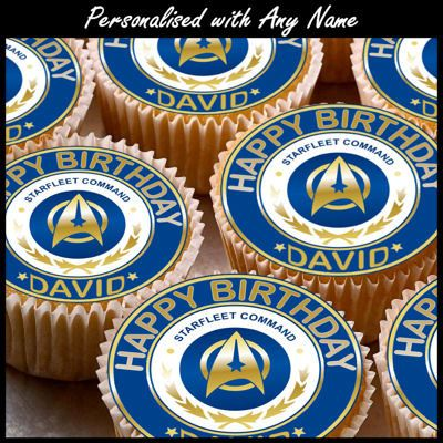 24 x Personalised Star trek Cup Cake Toppers by ...