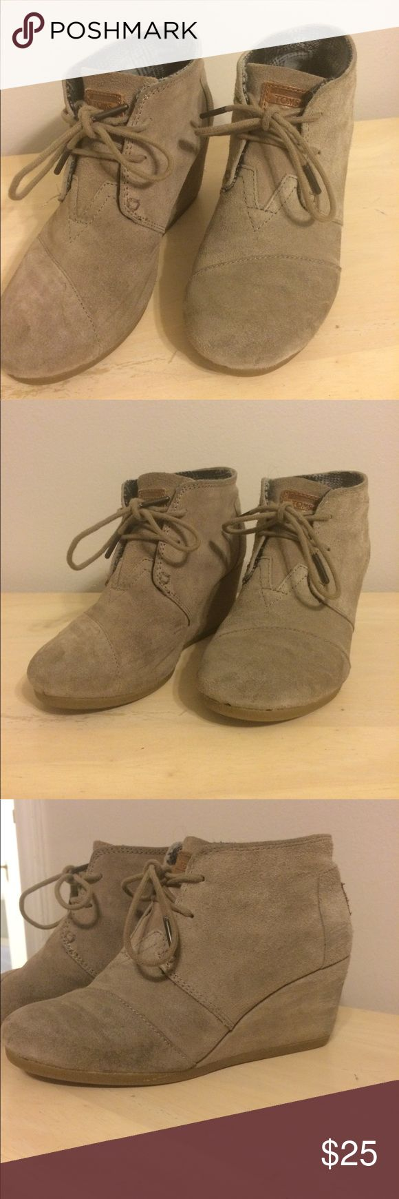 TOMS wedge booties gray Gray TOMS wedge booties are in great prelove condition. Loose stitch as shown in picture. 6.5 Toms Shoes Ankle Boots & Booties