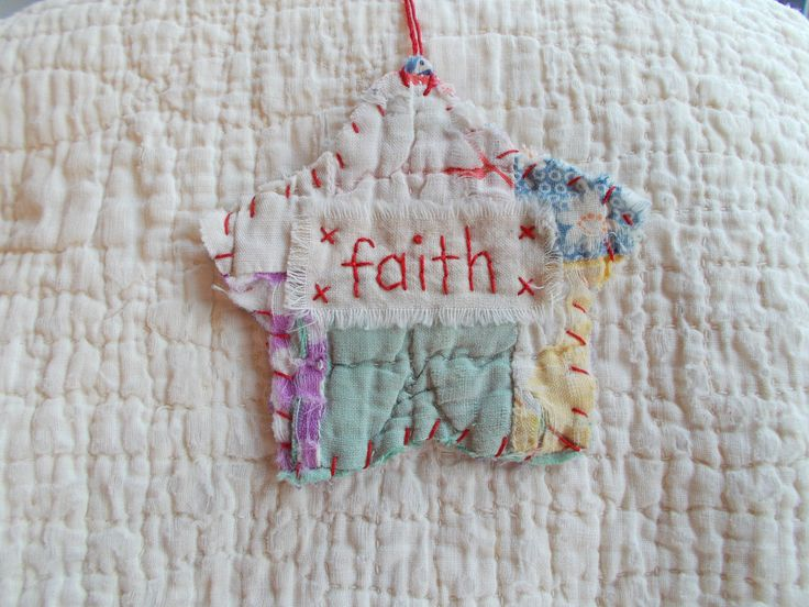 Star Starz Ornament - FAITH - Stitched From Recycled Vintage Quilt Piece. $7.00, via Etsy.