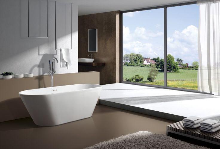 Freistehende Badewanne LUGANO Acryl weiß OMS-771 170 x 74 cm inkl. Ab-/Überlauf Badewelt Whirlpool / Badewannen