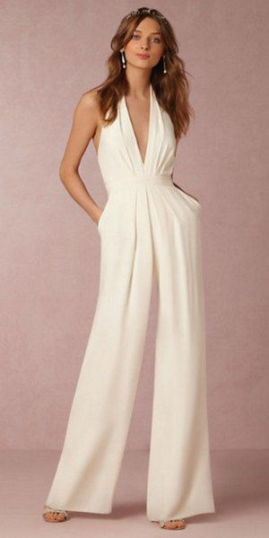 BHLDN bridal wedding pantsuit / http://www.deerpearlflowers.com/wedding-pantsuits-and-jumpsuits-for-brides/