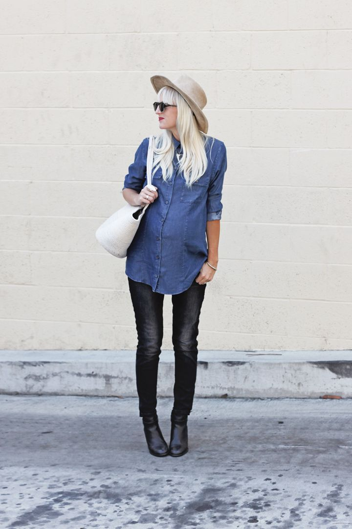 Chambray Shirt - Isabella Oliver // Cotton Cord Bag - Seapod Collective // Denim - Zara // The Lonny Boot- Madewell // Rancher Hat - Free People // Sunglasses - SALT Well, I am still with child! D...
