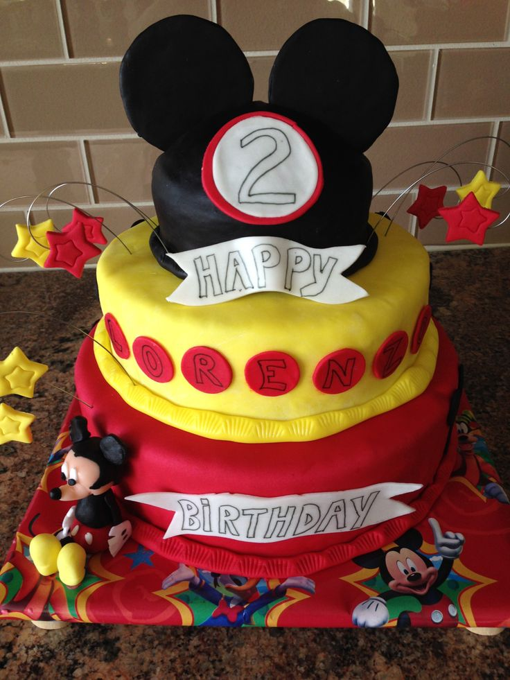 Mickey Mouse Birthday themed 2 year old cake fondant