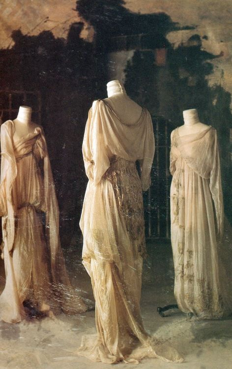 "The Brides ""Francis [Ford Coppola] wanted a decaying, deteriorating feel to the fabric, like the shrouds of the mummies in the catacombs of Bombay. The passage of time would have turned the white fabrics to rich amber, so fragile that it would crumble when you touched it. At the same time, he wanted extremely feminine robes, like the ones worn by the women in paintings by the Czech poster-painter Mucha."" (Eiko and Coppola on Bram Stoker's Dracula, p. 44) Design by Eiko Ishioka"